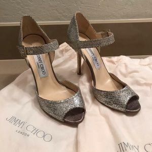 Jimmy Choo Glitter Peep Toe Ankle Strap size 36.5